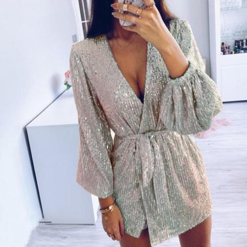 Women's Fashion Solid Color Sequin Lace Up Dress