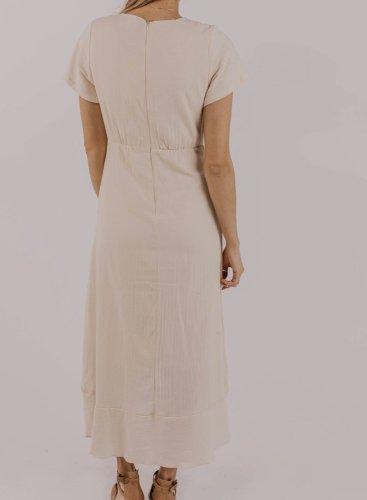 V-neck Ruffled Pocket Maxi Dress