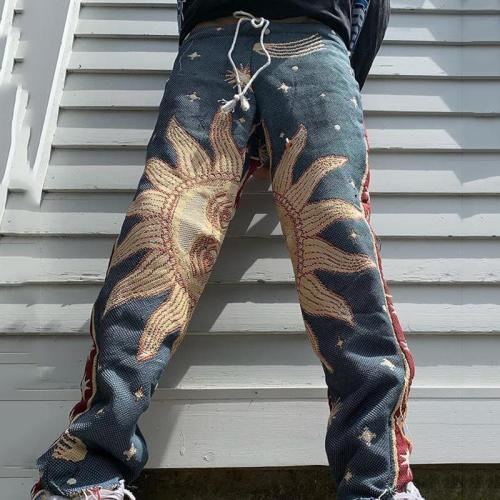 Vintage sun pattern casual loose mens pants TT010
