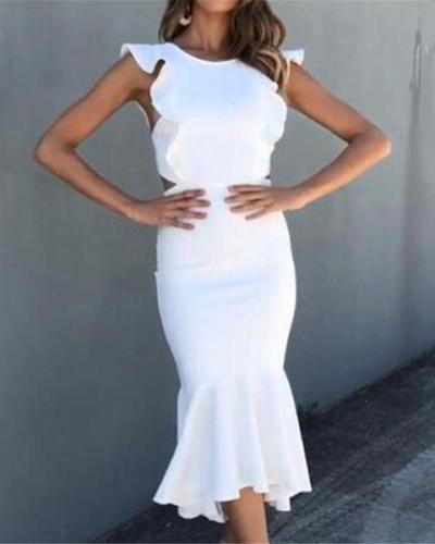 Flash Sale Fashion Sexy Irregular Flounce Maxi Dress