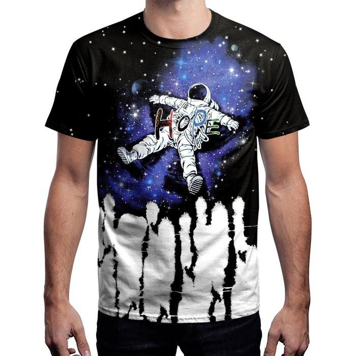 Astronaut Print Round Neck Pullover Short Sleeve T-shirt