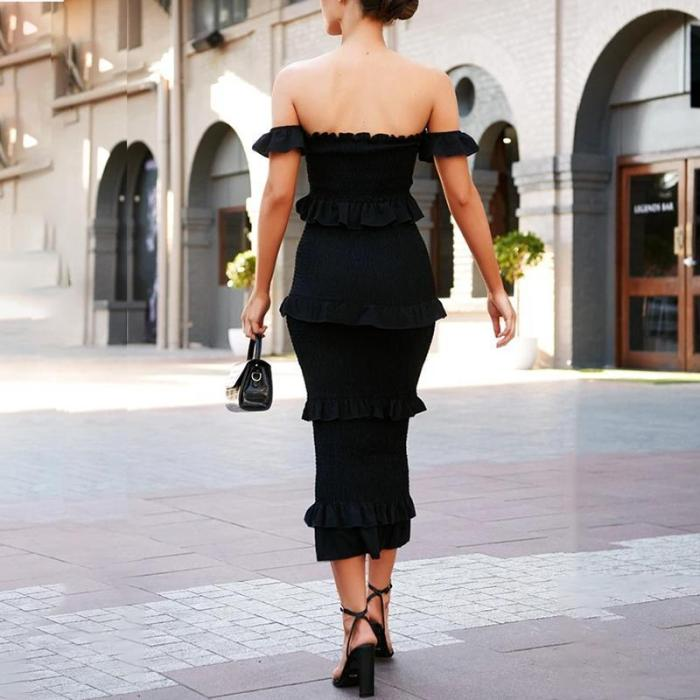 Sexy Embroidered Open Back Solid Color Dress