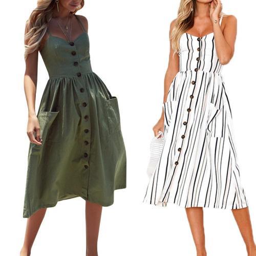 2020 Boho Sexy Dress Midi Button Backless Beach Polka Dot Striped Floral Casual Dresses