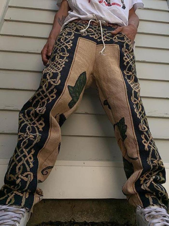 Vintage patterned casual loose mens pants TT010