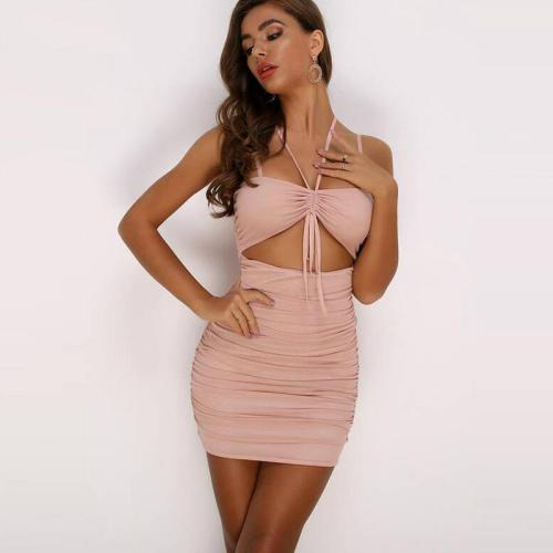 Holllow Out Bodycon Party Summer Dress Pleated Sexy Dress Women Spaghetti Strap Slim Backless Casual Party Clubwear