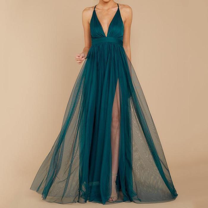 Sexy Deep V Mesh Sling Evening Dress