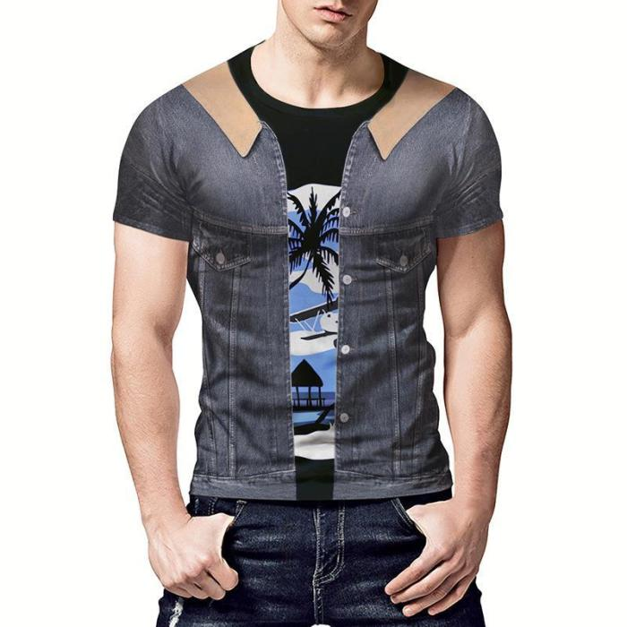 Fake Two Piece Denim Print Short Sleeve T-Shirt