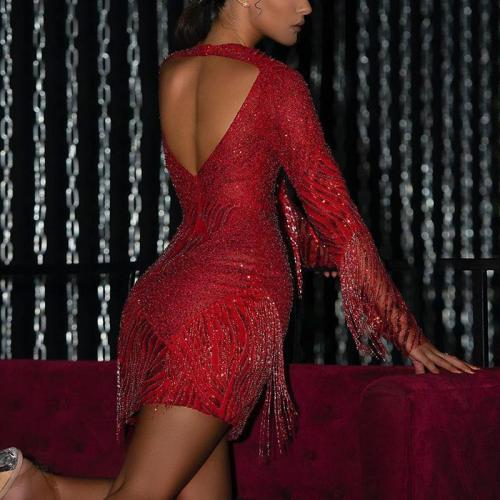 Womens Sexy Backless Long Sleeve Bodycon Dress