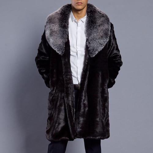 Men's Faux Fur  Leather Fox Fur Collar Coat