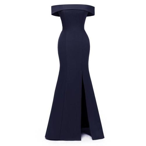Long One word collar evening dress Party Dress Elegant fashion formal dress Sexy Open fork Big yards evening gown