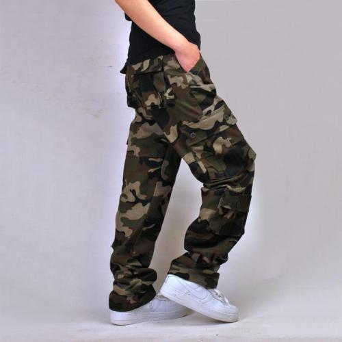 Cotton multi-pocket loose camouflage pants
