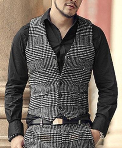 (Vest + Pants)2 Pieces Casual Gentleman Men's White Black Vest Plaid Soft Wool Jacket Tweed Business Waistcoat For Wedding Party