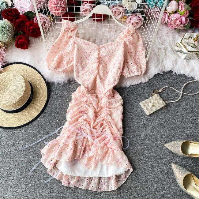 JOYMANMALL Women French Sweet Floral Dress Sexy Slash Neck Puff Sleeve Bodycon Drawstring Dress Summer Bohemian Print Short Dress