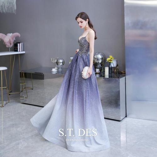 2020 S.T.DES  Brilliant Beaded Embroidery Sequined Blue Satin With Gradient Color A-Line Spaghetti Illusion Evening Dress