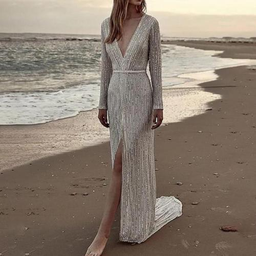 Sexy Long Sleeved Deep V Sequin Evening Dress
