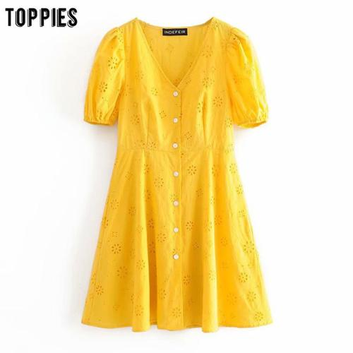 summer white yellow cotton mini dresses hollow out embroidered summer dress short sleeve v-neck vestidos
