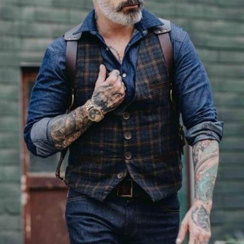 Casual Classic Plaid Men's Vest