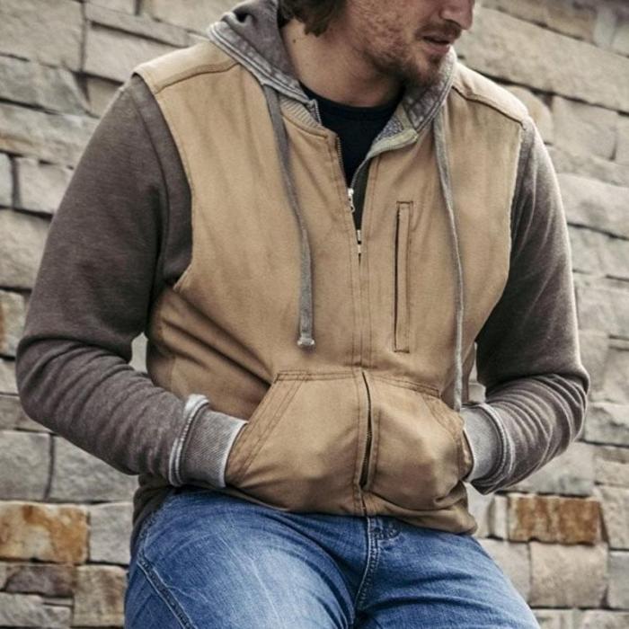 Men's Vintage Fit Zipper Khaki Vest