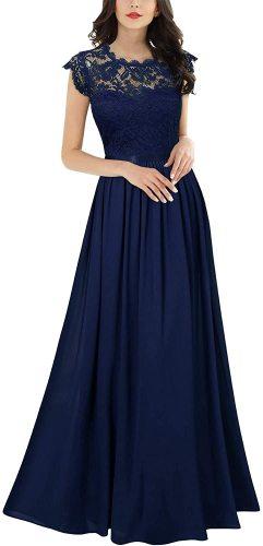 Miusol Women's Formal Floral Lace Evening Party Maxi Dress