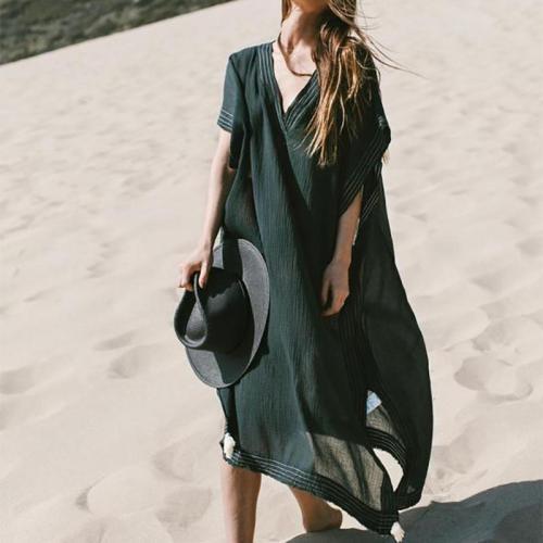 Fashion Loose Pure Colour Beach Maxi Dresses Evening Dress