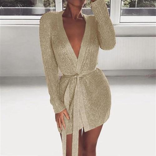 Women's Casual Long Sleeve Wild Knit Belted Mini Dress
