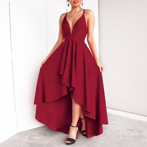 Sexy V Collar Solid Color Irregular Sling Evening Dress