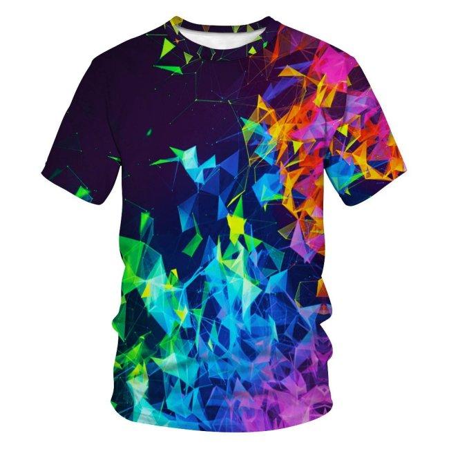 3D Geometric Smoke Printed Funny Men T-shirt Loose Casual Novelty Short Sleeve Tees Top
