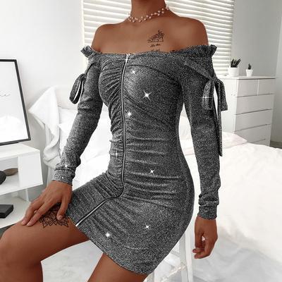 Sexy Word Collar Long Sleeve Slim Mini Dress