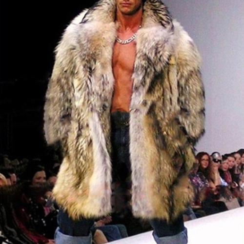 Men's Fur Imitation Braid Hair Long Coat Fashion