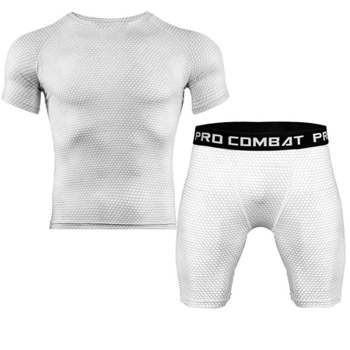 New Sports T-Shirt Men's Suits Short Sleeve T-Shirt 2Pcs/Set Shirts Running Tops+Men Casual Shorts Suit For Soccer Play Running