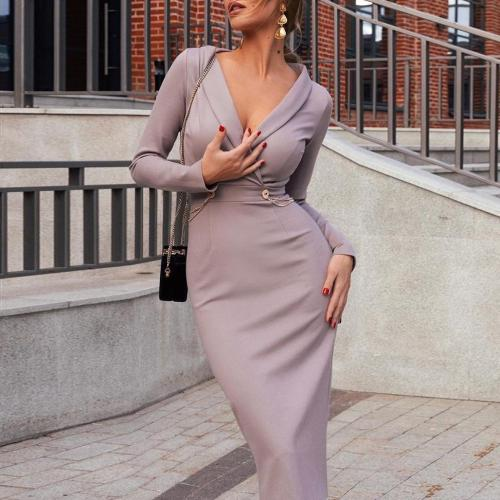 Solid V-Neck Long Sleeve Bodycon Dress