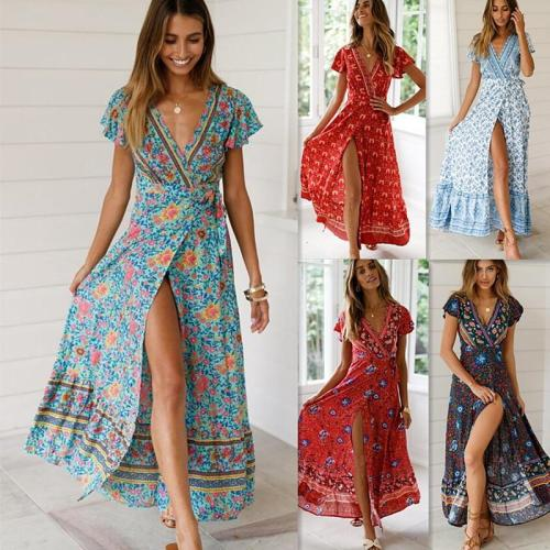 Casual Behemian Women Summer Dress 2020 Sexy Floral Printed Maxi Dress Irregular Sashes Long Boho Vestidos Chiffon Vintage Robe
