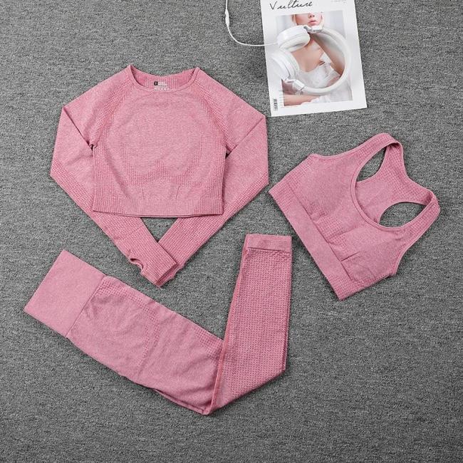 Women Seamless Sports Suits Fitness Yoga Set Gym Workout Clothing Long Sleeve Crop Top Shirts High Waist Running Leggings pants