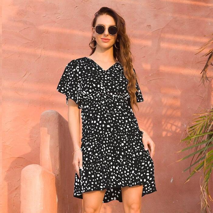 Summer Chiffon Casual Dress 2020 Boho Beach Dress Fashion Short Sleeve V-neck Flower A-line Party Dresses Sundress Vestidos