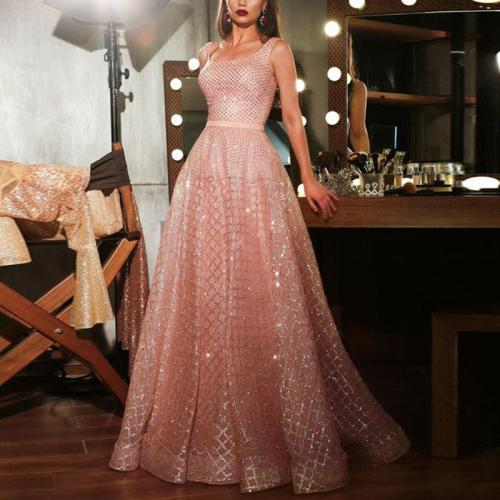 Elegant Checked Print Gilt Evening Dress