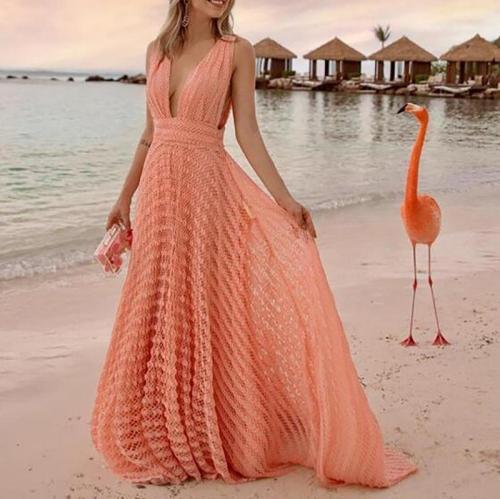 Deep V-Neck Sexy Lace Holiday Dress