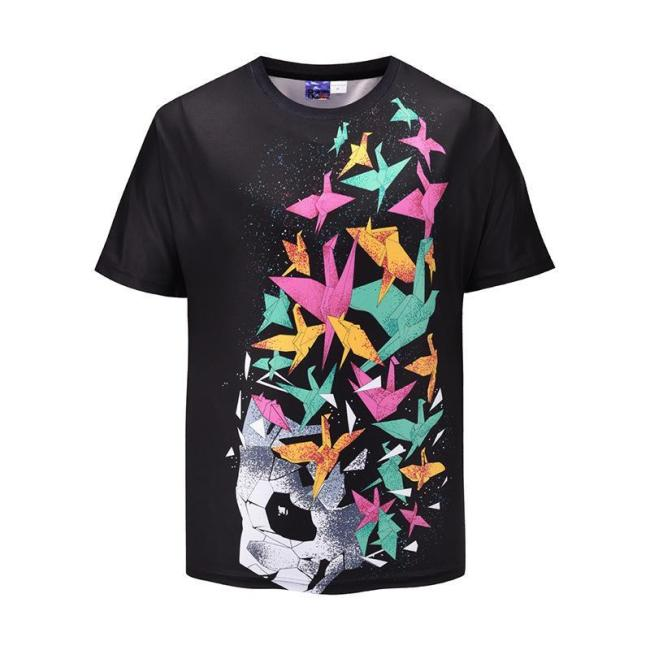 Loose Print Large Size Men's Short Sleeve T-shirt