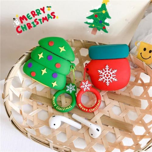 Christmas Santa Claus 3D Silicone AirPod Case Cover with Ring