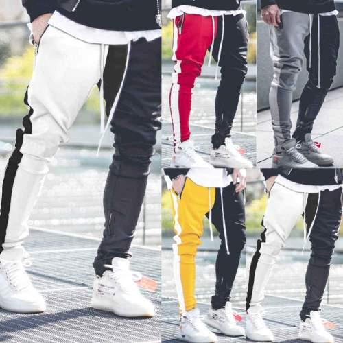 Men's Color Matching Color   Zipper Casual Pants