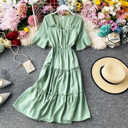 JOYMANMALL Women Summer Sweet Chiffon Dress Square Collar Flare Sleeve Ruffles Dress Elegant Fashion Simple Streetwear Midi Dress