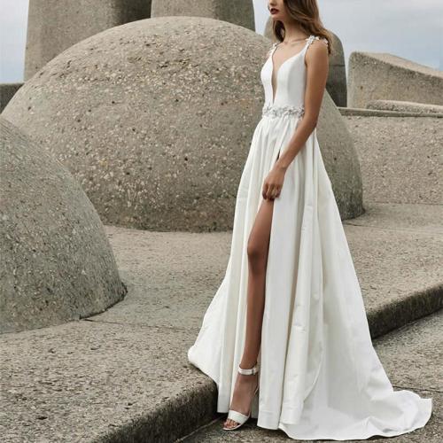 Elegant Slip Deep V Evening Dress