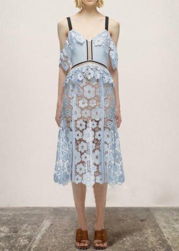 Elegant V Neck Off-Shoulder Bare Back Splicing Hollow Out Lace Dress