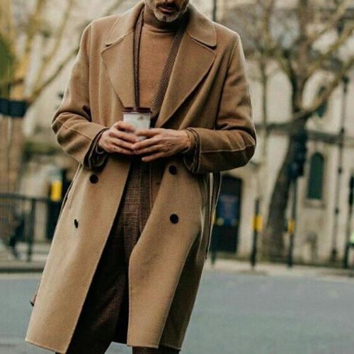 Men's Classic Vintage Solid Color Double Breasted Coat