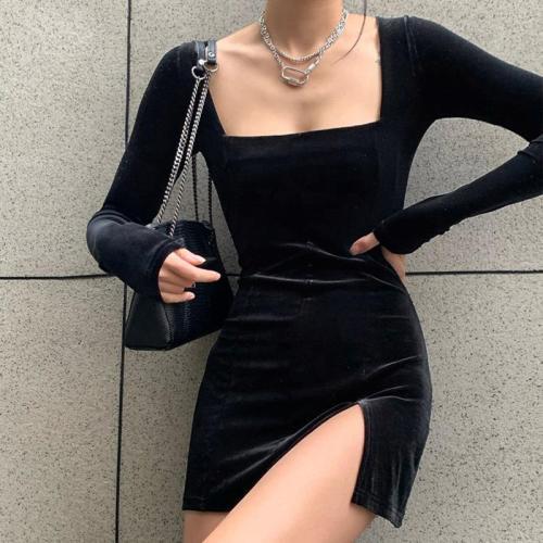 2020 sexy slim close waist slit A-line dress
