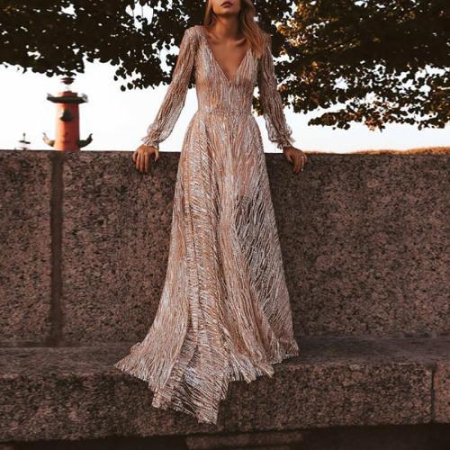 Elegant Deep V Lace Long Sleeve Slim Dress