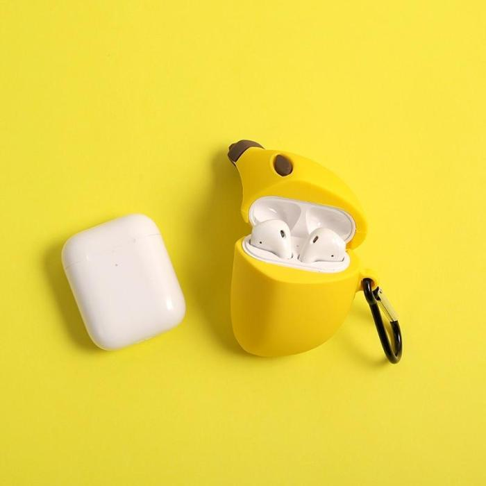 INS Hot 3D Simulated Banana Silicone Protection Headphone Case For Airpods 1/2