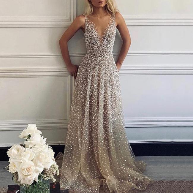 Sexy V-Neck Sparkling Evening Dress
