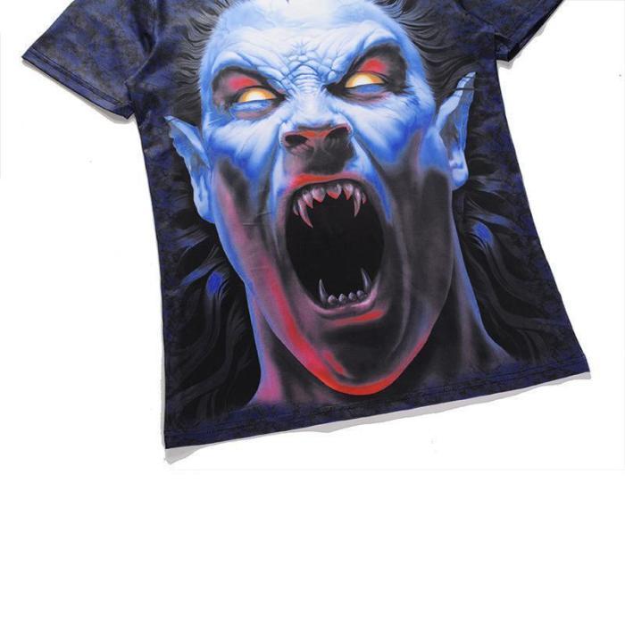 3D Zombie Printed Round T-Shirt
