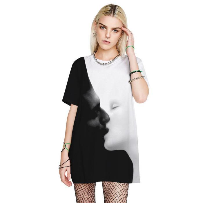 3D Kiss Printed Funny Men T-shirt Loose Casual Novelty Short Sleeve Tees Top
