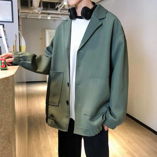 Korean Streetwear Blazers Jacket Men 2020 Harajuku Blazer Male Long Sleeve Blazer Mens Loose Fashion Men Clothing